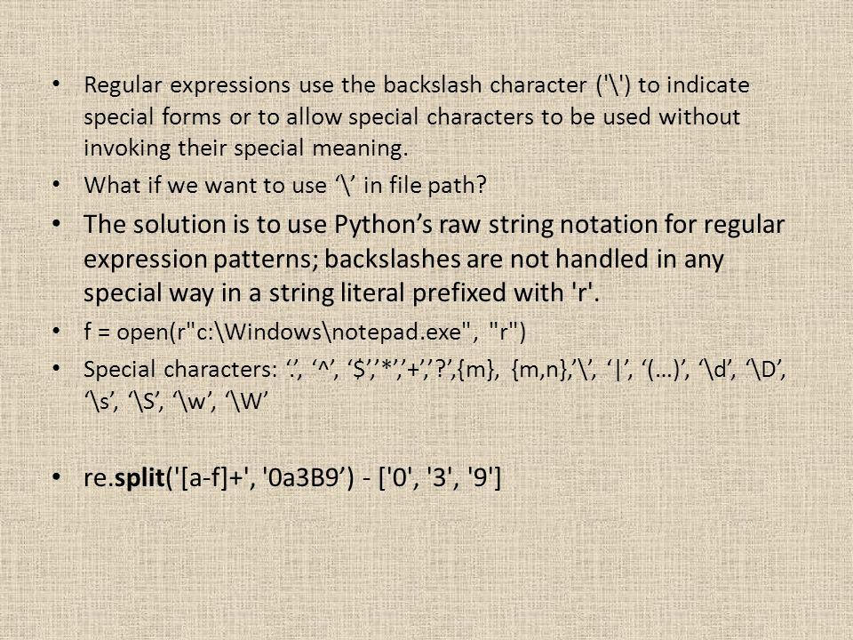 re.split( [a-f]+ , 0a3B9') - [ 0 , 3 , 9 ]